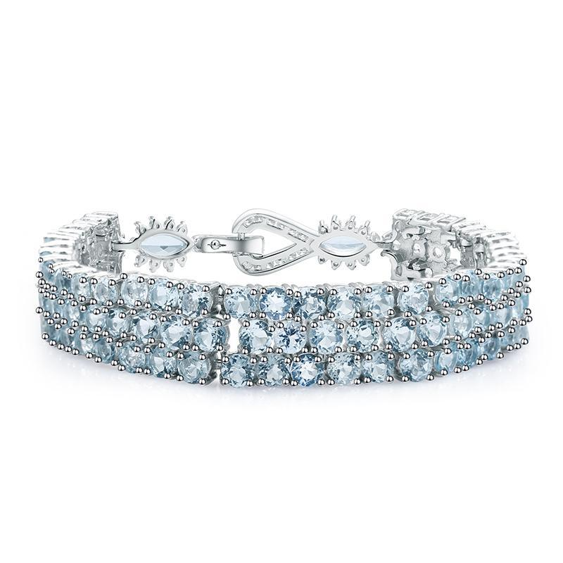 Natural Sky Blue Topaz Chain Link Bracelet - Jewellica.com