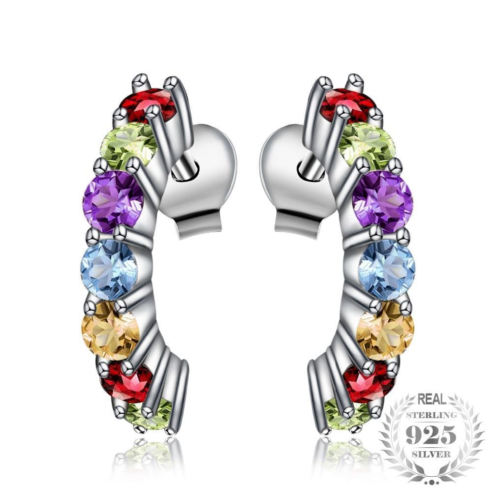 Amethyst, Citrine, Garnet, Peridot & Topaz Multicolored Stud Earrings - Jewellica.com