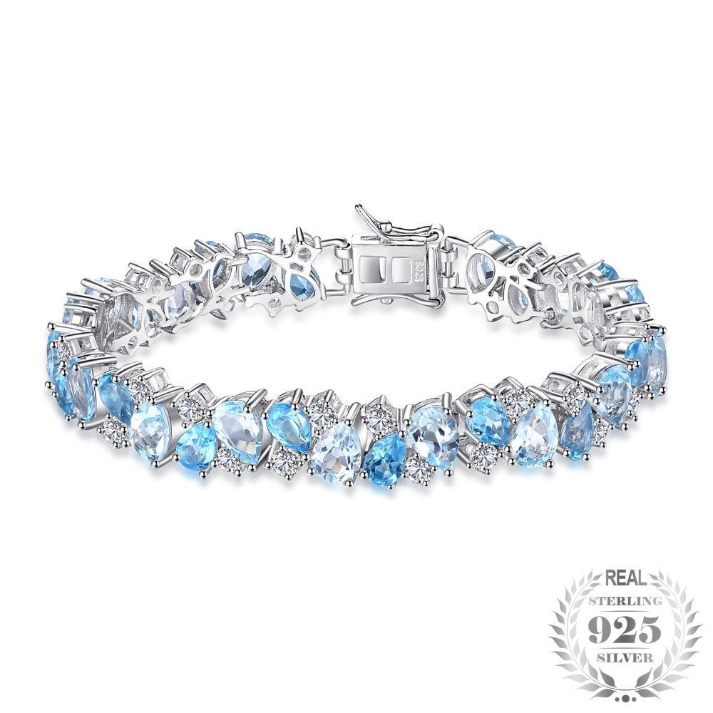Luxury 23.4ct Multi London Blue Topaz Link Tennis Bracelet - Jewellica.com