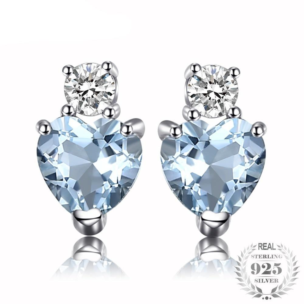 Aquamarine & White Topaz Heart Stud Earrings - Jewellica.com