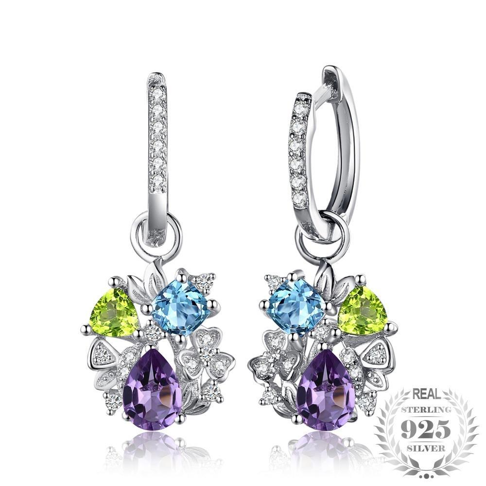 Amethyst, Peridot & Swiss Blue Topaz Dangle Earrings - Jewellica.com