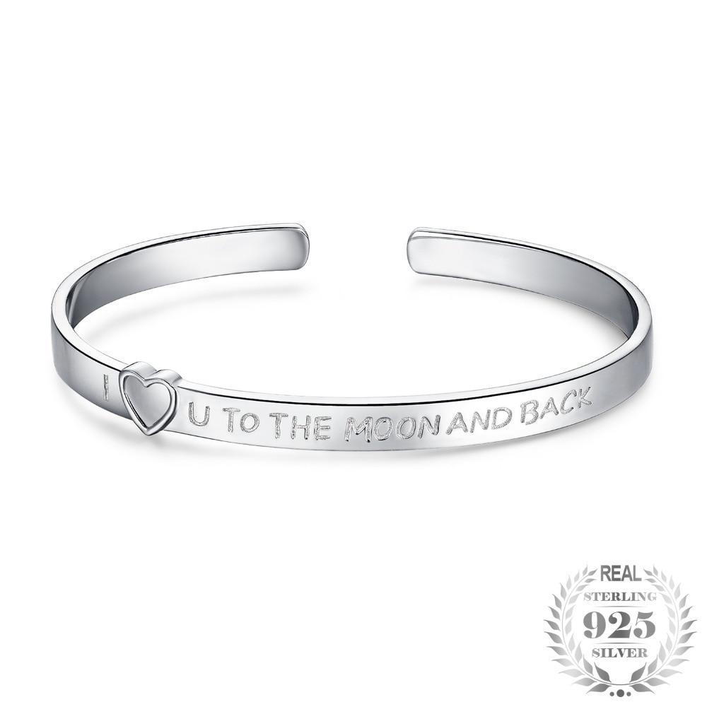 """I Love You To The Moon & Back"" Cuff Bangle Bracelet - Jewellica.com"