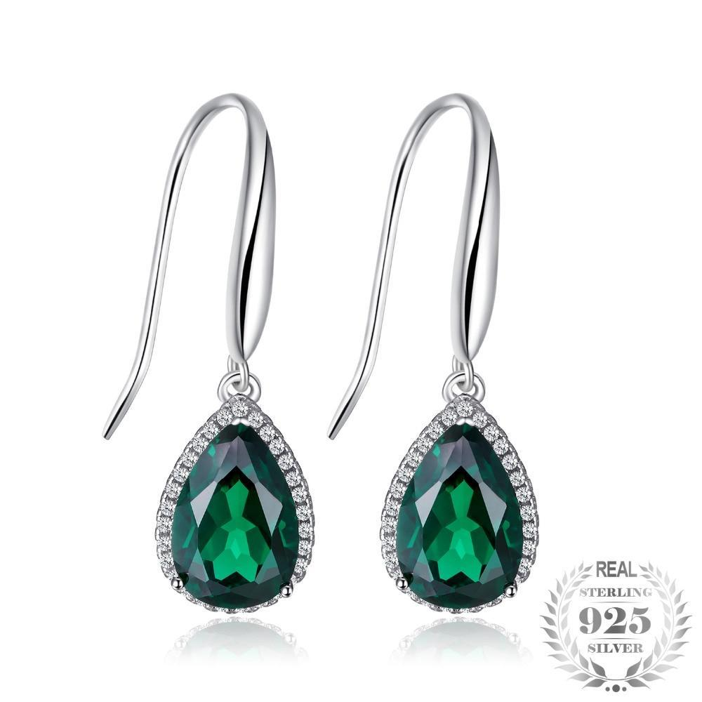 Created Emerald Drop Earrings - Jewellica.com
