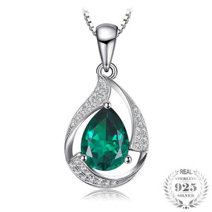 Simulated Emerald Pendant Necklace - Jewellica.com