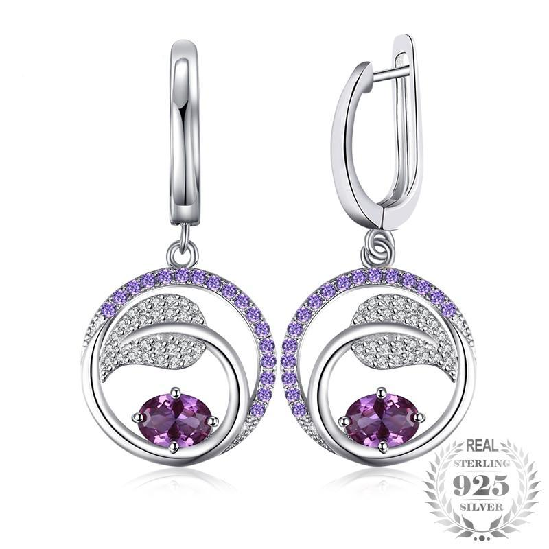 Created Alexandrite Sapphire Sterling Silver Dangle Earrings - Jewellica.com