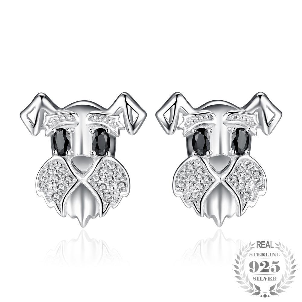 Black Spinel & Cubic Zirconia Puppy Stud Earrings - Jewellica.com