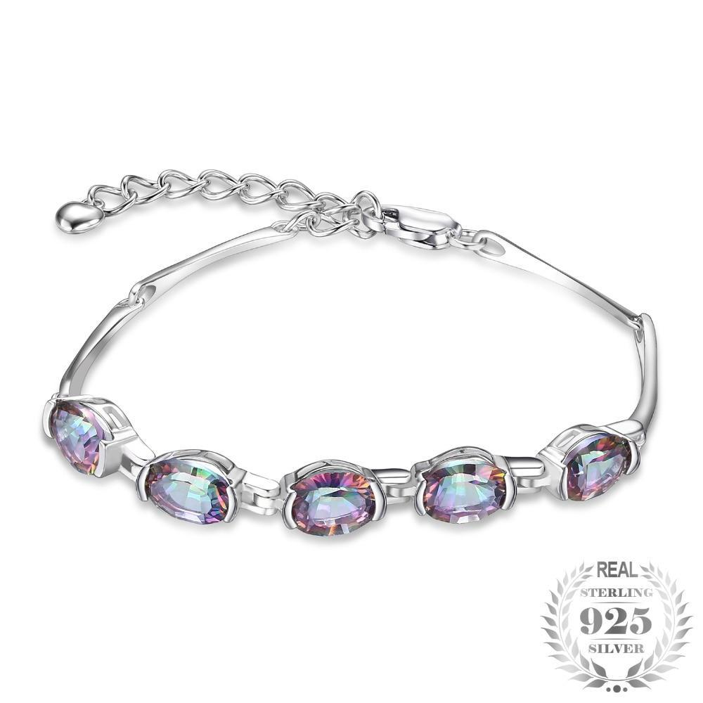 Natural Mystic Topaz Genuine Chain Link Bracelet - Jewellica.com