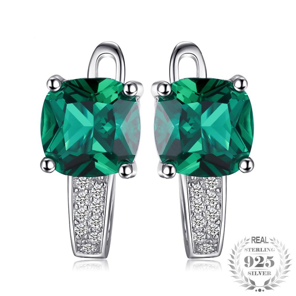 Created Emerald Clip On Earrings - Jewellica.com