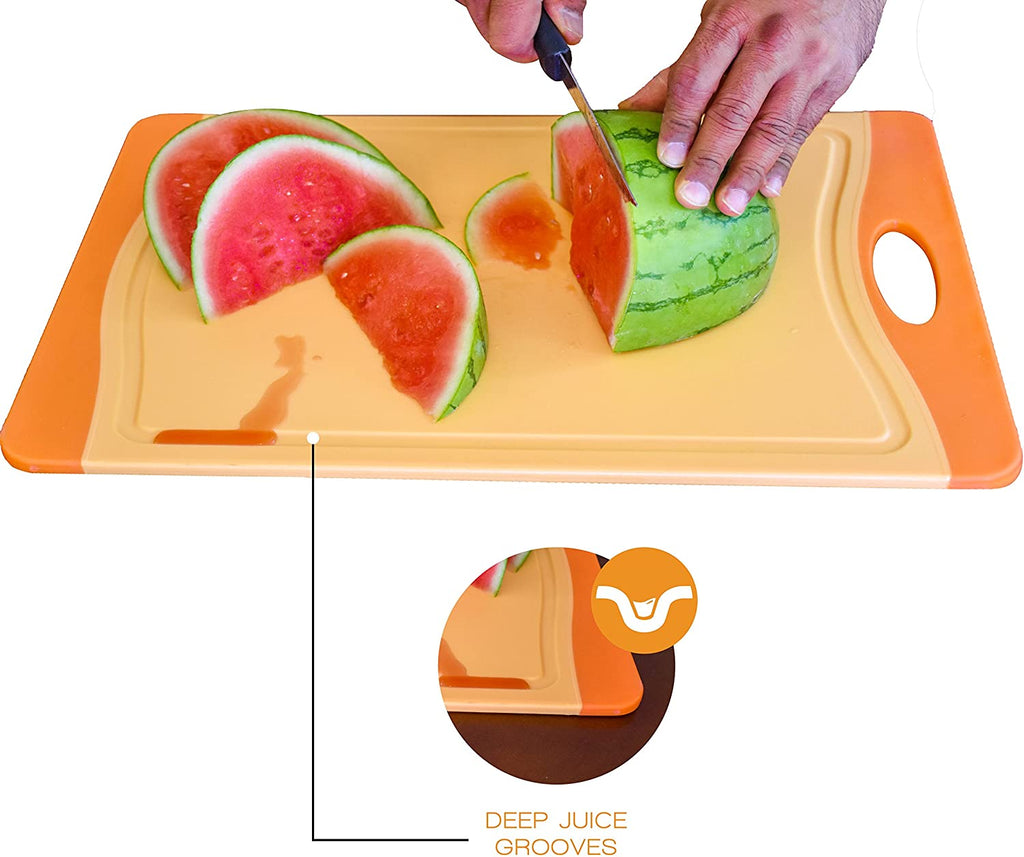 "Raj Plastic Cutting Board Reversible Cutting board, Dishwasher Safe, Chopping Boards, Juice Groove, Large Handle, Non-Slip, BPA Free (Small (11.42"" x 7.87""), Orange)"