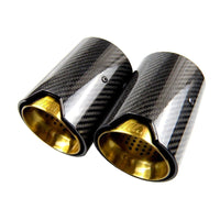 BMW F22 F23 M235I M240I Carbon Fibre Gold M Performance Style Exhaust Tips Set (2012 - 2019)