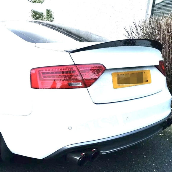 Audi 8T/8F B8 B8.5 S5 Carbon Fibre Rear Ducktail Spoiler (2008 - 2016) Designed to make your Audi S5 Coupe more aggressive with the HK Style ducktail rear spoiler made from Real Carbon Fiber Suitable Cars Audi 8T/8F B8 B8.5 S5 (2008 - 2016)