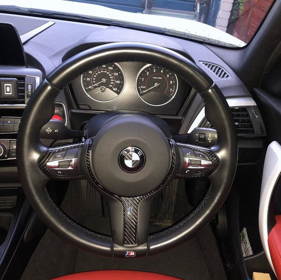 BMW F Series M sport Carbon Fibre Steering Wheel Trim Side Covers (2012 - 2018)