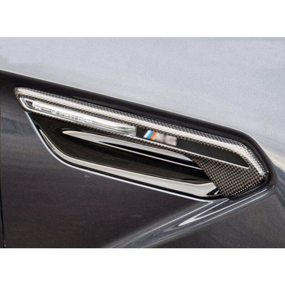 BMW F06 F12 F13 M6 Carbon Fibre M Performance Style Fender Indicator Cover (Stick-On) (2010 - 2017) - fender