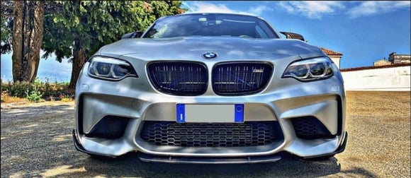 BMW F22 F23 F87 M2 2 Series Carbon Fibre ST Design Front Lip Spoiler Kit (2014 - 2019)