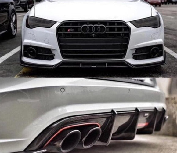 Audi C7.5 RS6 Carbon Fibre K Style Full Carbon Fibre Kit (2016 - 2019) - Aggressive K Style Full Carbon fibre kit to give the maximum aggression look on your Audi RS6 Avant! Full Kit includes: Side Skirts - Front Lip Spoiler - Rear Diffuser Suitable CarsAudi C7.5 RS6 Avant (2016 - 2019)