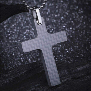 Real Carbon Fibre Cross Pendant Chain Necklace - ACCESSORIES