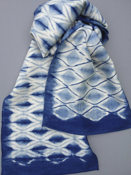 Diamond Shibori Scarf after the dye process