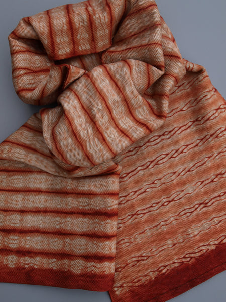 Textured stripe woven shibori scarf blank dyed in madder