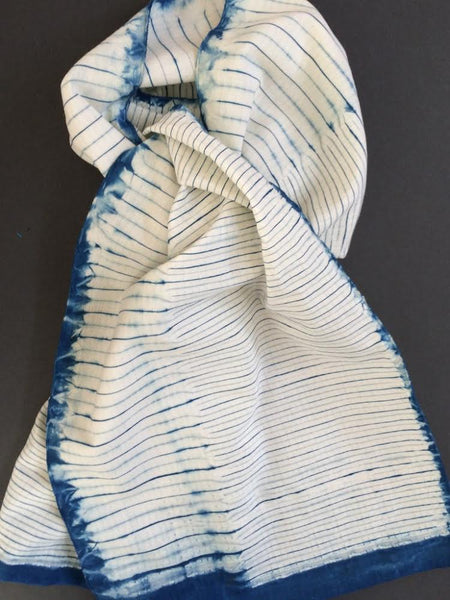 Woven-Shibori Scarf Blank - Large and Small Stripes