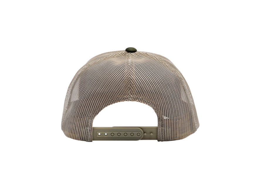 Nuvo structured, mid profile, snapback, trucker hat with leather arrowhead patch (side view)
