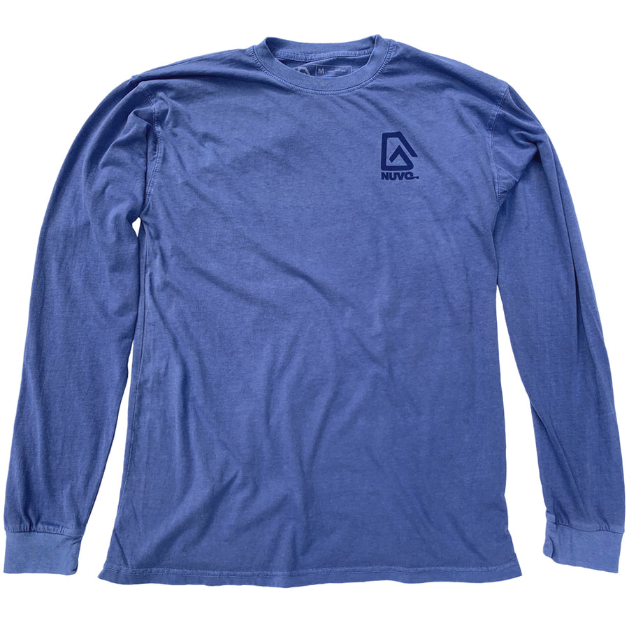 "The back of a blue, Nuvo brand, long sleeve graphic t-shirt featuring ski goggles, mountain, ski lift and ""Live the Adventure"""