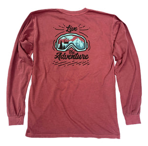 "The back of a red, Nuvo brand, long sleeve graphic t-shirt featuring ski goggles, mountain, ski lift and ""Live the Adventure"""
