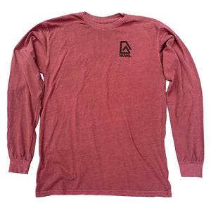 The front of a red, Nuvo brand, long sleeve graphic t-shirt featuring Nuvo logo on left chest