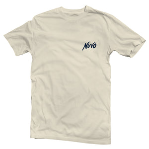 The front of a cream-colored, Nuvo brand, short sleeve graphic t-shirt featuring Nuvo logo on left chest