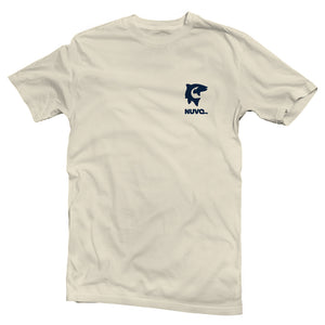 The front of a cream colored, Nuvo brand, short sleeve graphic t-shirt featuring small fish and hook on left chest