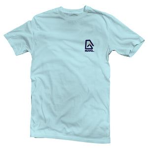 The front of a light blue, Nuvo brand, short sleeve graphic t-shirt featuring Nuvo logo on left chest
