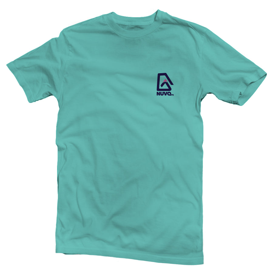 The back of a sea green, Nuvo brand, short sleeve graphic t-shirt featuring ombre mountain pattern in Nuvo logo