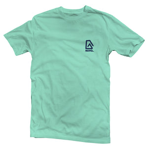 The front of a mint green, Nuvo brand, short sleeve graphic t-shirt featuring Nuvo logo on left chest