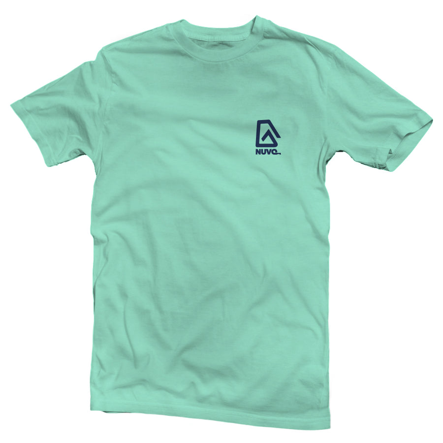 The back of a mint green, Nuvo brand, short sleeve graphic t-shirt featuring Jeep with surfboard and ocean sunset in windshield