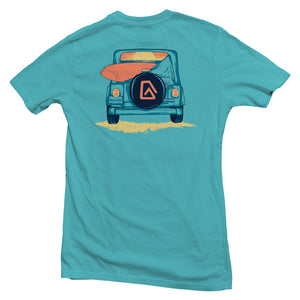The back of a bright blue, Nuvo brand, short sleeve graphic t-shirt featuring Jeep with surfboard and ocean sunset in windshield