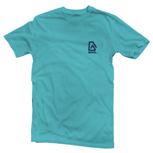 The front of a bright blue, Nuvo brand, short sleeve graphic t-shirt featuring Nuvo logo on left chest