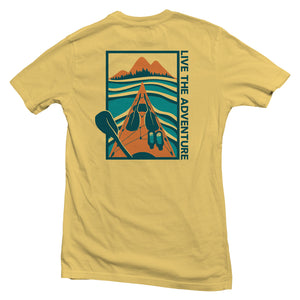 The back of a yellow, Nuvo brand, short sleeve graphic t-shirt featuring kayak on lake with mountains in the distance