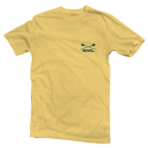 The front of a yellow, Nuvo brand, short sleeve graphic t-shirt featuring small Nuvo logo on left chest