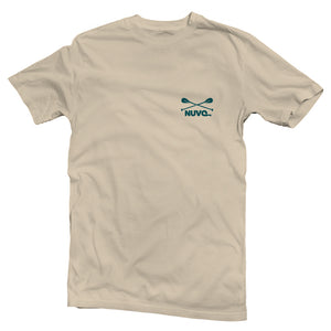 The front of a cream-colored, Nuvo brand, short sleeve graphic t-shirt featuring small Nuvo logo on left chest