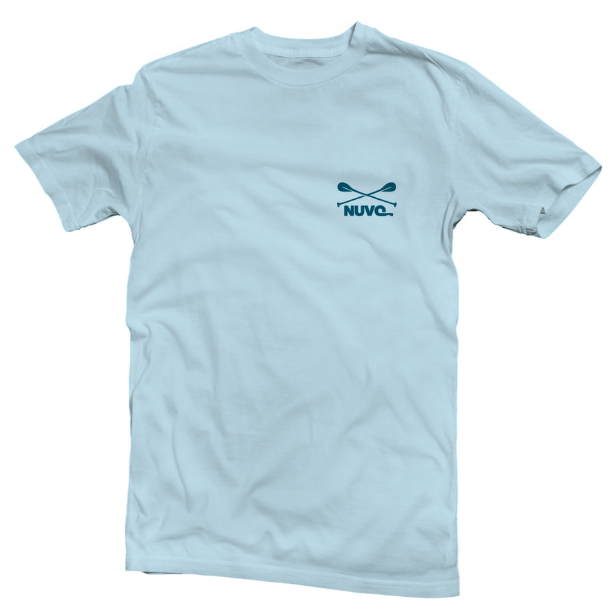 The back of a light blue, Nuvo brand, short sleeve graphic t-shirt featuring kayak on lake with mountains in the distance
