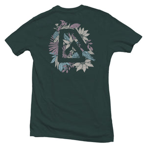 The front of a forest green, Nuvo brand, short sleeve graphic t-shirt featuring Nuvo logo surrounded by flower pattern