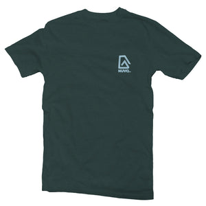 The front of a forest green, Nuvo brand, short sleeve graphic t-shirt featuring Nuvo logo on left chest