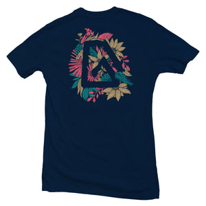 The front of a navy blue, Nuvo brand, short sleeve graphic t-shirt featuring Nuvo logo surrounded by flower pattern