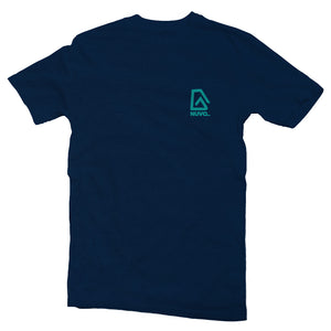 The front of a navy blue, Nuvo brand, short sleeve graphic t-shirt featuring Nuvo logo on left chest
