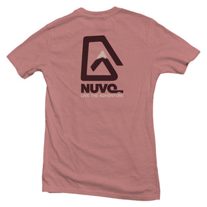 The back of a mauve, Nuvo brand, short sleeve graphic t-shirt featuring Nuvo logo and Live the Adventure