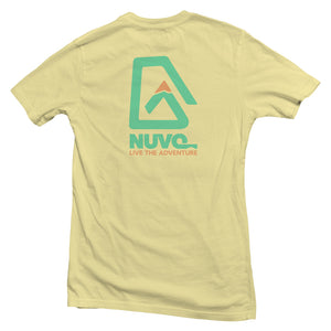 The back of a yellow, Nuvo brand, short sleeve graphic t-shirt featuring Nuvo logo and Live the Adventure