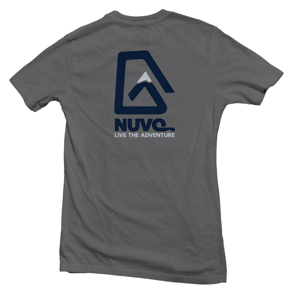 The back of a grey, Nuvo brand, short sleeve graphic t-shirt featuring Nuvo logo and Live the Adventure