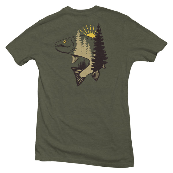 The back of a military green, Nuvo brand, short sleeve graphic t-shirt featuring a jumping trout and pine trees