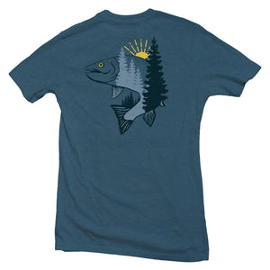 The back of a blue, Nuvo brand, short sleeve graphic t-shirt featuring a jumping trout and pine trees
