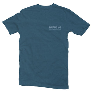 "The front of a blue, Nuvo brand, short sleeve graphic t-shirt featuring pine trees and ""Nuvo, Live the Adventure"""
