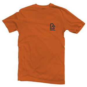 The front of a burnt orange, Nuvo brand, short sleeve graphic t-shirt featuring small Nuvo logo on left chest